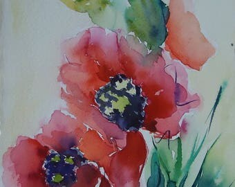 poppy flower water colour twice