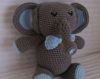 Crochet Elephant, Elephant Stuffed Animal, Crochet Animal, Elephant Plush, Stuffed Elephant, Zoo Nursery Decor, Amigurumi elephant