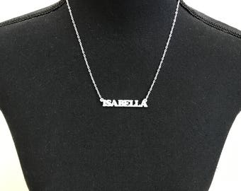 Customizable name necklace: Isabella – Choose any word to personalize – 3D printed - Free and fast shipping