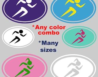Vinyl Running Runner Girl Boy Marathon Half Marathon Decal Sticker Any Color Combo cellphone yeti car window computer smartphone coffee cup
