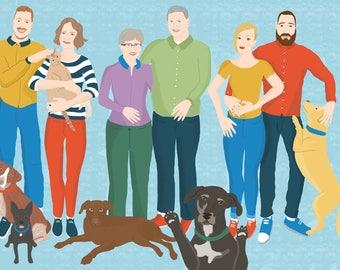 personalised family portrait, digital print 11x8 , commissioned family portrait illustration