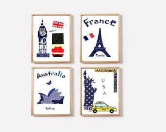 27,Nursery wall art,baby boy art print,France,USA,England,Australia,blue navy,yellow,red,tableau chambre enfant