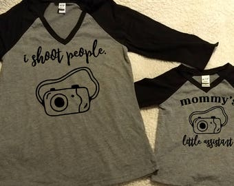 Mother and Daughter I Shoot People and Mommy's Little Assistant Shirts - Matching Raglan Contrast 3/4 sleeve shirts - Photographer Shirt