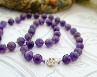 Vintage Amethyst Bead Necklace - Purple Boho Beaded Necklace - Natural Gemstone Jewelry - Art Deco Jewelry - Downton Abbey Vintage Wedding