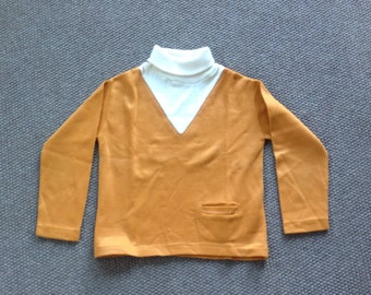 Vintage 60s Boys Top, Rob Roy Long Sleeve Pullover Top, Cream Turtleneck and Gold Knit Top Size 7 Boys