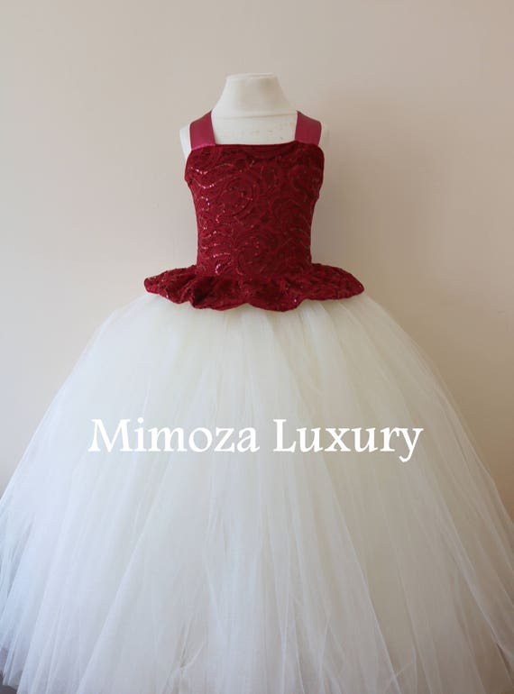 Burgundy Flower Girl Dress, burgundy bridesmaid dress, couture flower girl gown, bespoke girls dress, tulle princess dress, ivory tutu