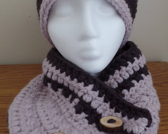 Crochet hat and cowl set