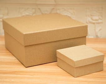 X Large Square Kraft gift box. Wedding gift boxes. Deep kraft paper gift boxes. Hat Box. Tiara gift boxes. 20cm x 20cm x 10cm. Strong box
