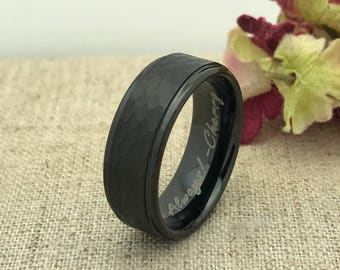 8mm Cobalt Wedding Ring, Hammered Brushed Finish Cobalt Ring Band, Mens Wedding Band, Womens Wedding Band FREE ENGRAVING