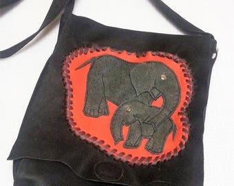 shoulder bag,to hang around,leather bag,genuine leather,nubuk leather,darkbrown,casual,with elephants,hippi,etnostyl,Afrika,handmade bag,