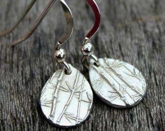 Bamboo print silver drop earrings, plant jewellery, plant earrings, silver earrings dangle, minimalist earrings, nature inspired jewellery