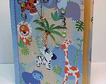 Blue Jungle Book aCharm Clock for Desk, Table or Dresser - Adorable Clock and Treasure Box in One - Special Hiding Place - Personalize it!