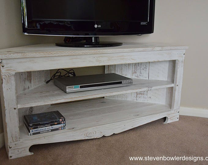 FREE UK SHIPPING Rustic Reclaimed Wood Corner Tv Unit in our White Nautical Coastal Style Finish 110 cm x 45 cm x 50 cm Handcrafted To Order