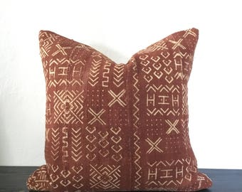 "Mudcloth Pillow Cover 18"" Rust Authentic Bogolanfini"