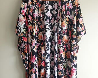 Floral Kimono, Colorful Tropical Kimono, Rayon, Boho Kimono, Valentine's Day, Kimono Cardigan, Christmas Gift, Women's Fashion Clothing Gift