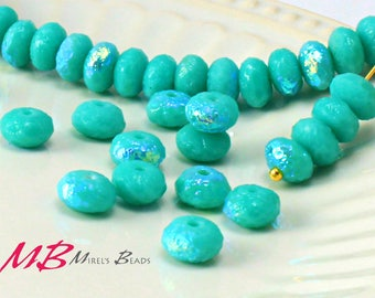 7x4mm AB Etched Turquoise Rondelles, Faceted Rondelle, 25 pcs Czech Glass, Puffy Donut Beads