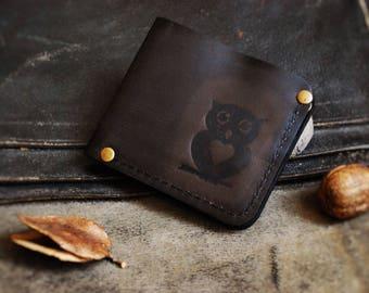 Genuine leather bifold Wallet Owl men's women's wallet