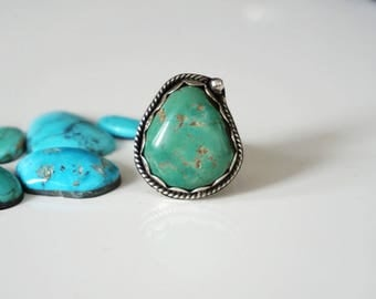 Size 5.50 US, Beautiful Old stock turquoise from Nevada Sterling silver ring - One of a kind ring - boho style