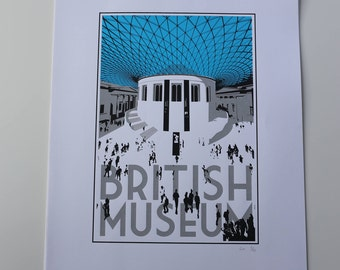 British Museum Great Court Screenprint A2
