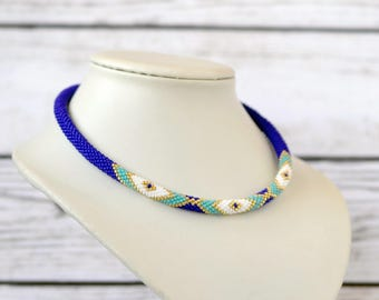 blue necklace seed bead necklace choker necklace statement necklace beaded jewelry bohemian necklace gift-for-mom gift-for-wife gift-for-her