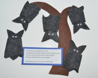 Five Little Bats Flannel Board Story