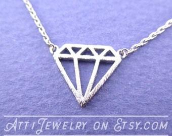 Classic Diamond Outline Shaped Pendant Necklace in Silver | Atti Jewelry