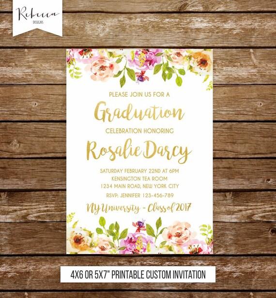 Girl graduation party invitation graduation invite floral invitation il570xn filmwisefo