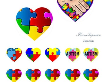 Autism -  Bottle Cap Images 1 inch -25 mm 4x6 Digital Collage INSTANT DOWNLOAD