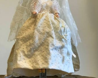 Bride Doll Replica 1970s Handmade Beaded Pearls Bridal Gown and Headpiece Veil Bridal gift