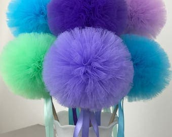 Mermaid Birthday Party Favors Tulle Pom Wands Centerpiece, Mermaid Tulle Pom Wands, Mermaid Party Favors