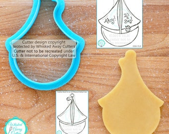 Whimsical Sailboat Cookie Cutter Fondant Cutter - **Guideline Sketches to Print Below**