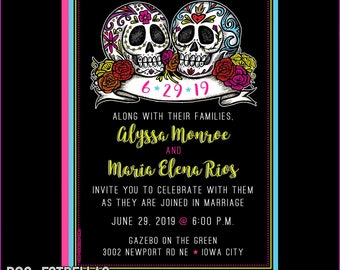 Celebration Sugar Skulls Wedding  / Save The Date / Invitations