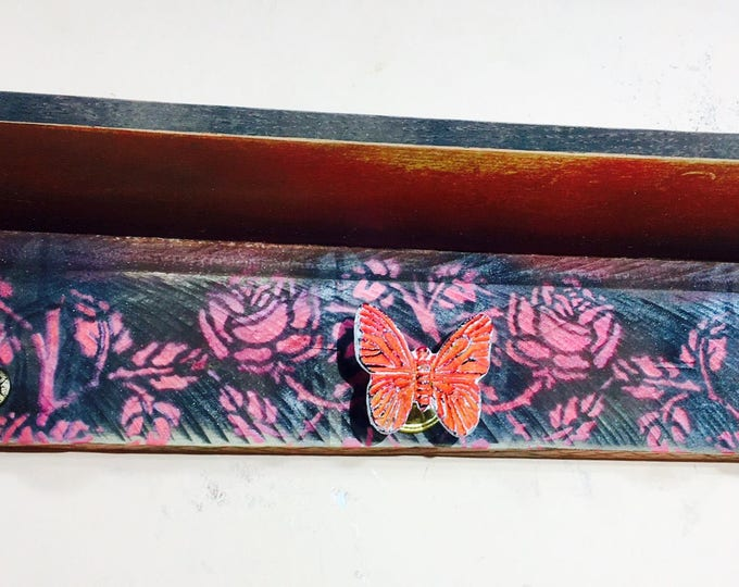 Floating shelves wall coat rack  jewelry storage makeup organizer reclaimed wood shelf red roses butterfly baby girl nursery decor 3 knobs