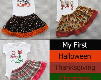 Baby's First Holiday Gift Set - first halloween, first thanksgiving, first christmas, my first holiday gift set, baby shower gift set