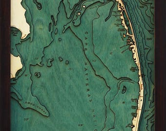 Outer Banks, North Carolina Wood Carved Topographic Depth Map