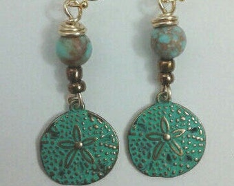 Sand dollar beaded earrings with free shipping