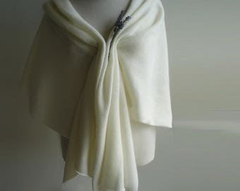 Wedding Shawl / Wrap / Bridal Cover Ups - Knitted in Lambswool - Colour Creamy White