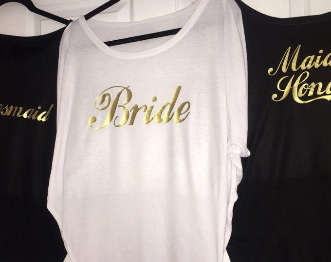 Bridesmaid oversized tshirts . Womens bridal Party Shirts . Script Gold Bridesmaid shirt . Rosegold Bride to be tee . Bridesmaid tank tops.