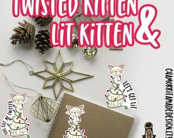 Kitten Die Cuts l Christmas Kitten Die Cuts | Kitten Die Cuts | Christmas Lights Die Cut | Planner Die Cuts | TN | Travelers Notebook