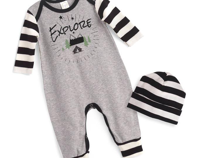 Unisex Baby Romper, Newborn Neutral Take Home Romper, Boy Girl Baby Bodysuit, Ivory Long Sleeve Romper, Explore, TesaBabe