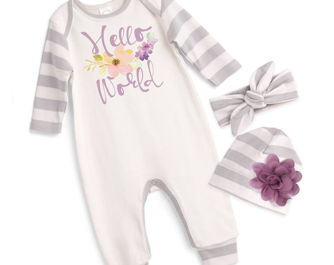 Newborn Girl Hello World Coming Home Outfit, Newborn Baby Girl Romper, Baby Girl Hello World Romper Rose Headband TesaBabe