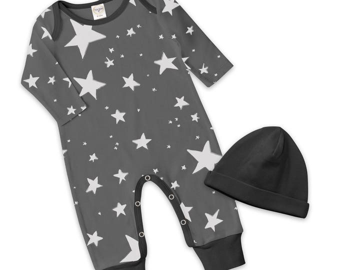 Newborn Baby Boy Coming Home Outfit Summer, Baby Boy Stars Gray Romper, Baby Girl Star Romper Minimalist Stars Romper Tesa Babe