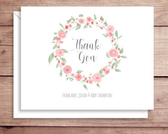 Floral Baby Shower Cards - Folded Note Cards - Baby Stationery - Baby Shower Thank You Notes - Baptism Thank You - Christening Thank You