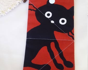 CRAZY BLACK CAT Glasses Case Soft Padded Snap Fastener