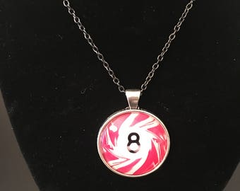 "Necklace - # 8 Pink Swirl Pool Ball Image under glass dome. (16""-24"")"