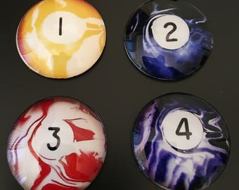 Pocket Markers - Swirl Pool Ball Images under glass domes, magnetic base (Choose 1 of 16)