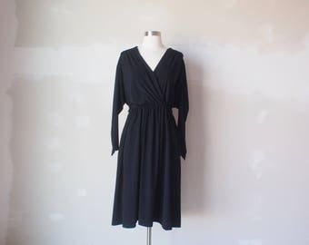 vintage black drape dress