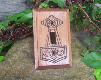 Thor's Hammer Light Switch Plate Cover - Mjolnir Lightswitch Plate - Viking Home Decor