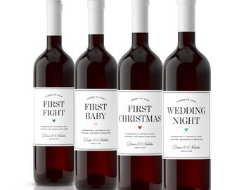 Set of Wedding Milestone Wine Labels, wedding gift, marriage milestone labels, wedding gifts personalized for couple, engagement gift
