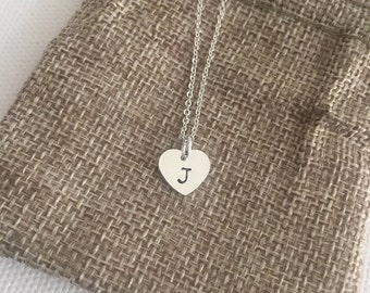 Personalised necklace, initial necklace, silver necklace, heart necklace, bridesmaid necklace, birthday gift, gift for women, gift for her